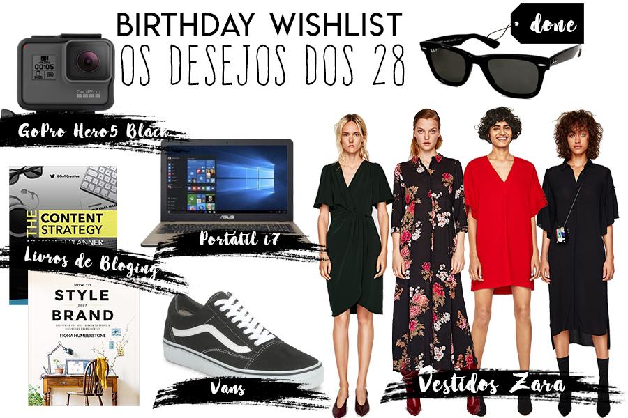 Wishlist de aniversário para os 28