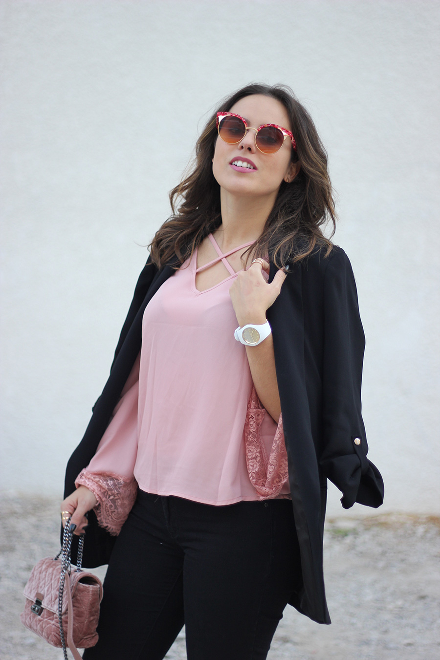 pink blouse outfit ana hickman glasses