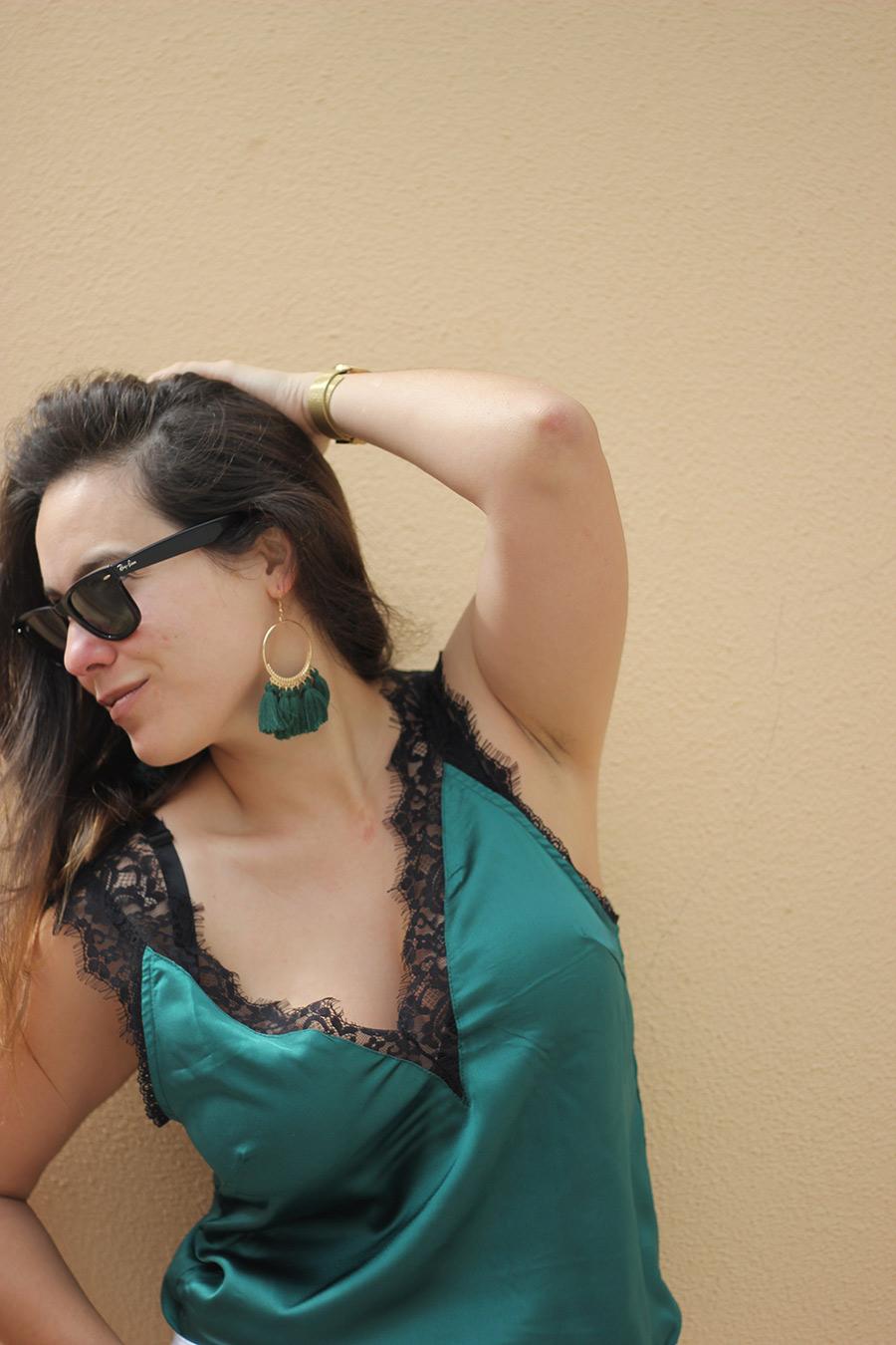 Green Satin Top Shein